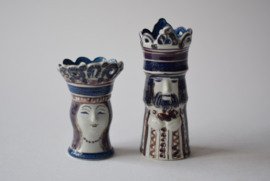 SOLD Doreen Middelboe for  Royal Copenhagen Queen & King Chess Figurines Danish Mid-century