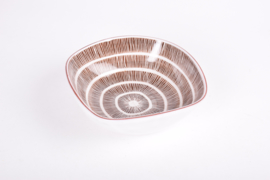 Ingrid Atterberg for Upsale Ekeby Sweden GRAFIKA Bowl Brown & White Stripes and Circles Scandinavian Mid-century Pottery