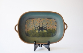 Dybdahl Denmark tray Adam & Eva handpainted decor Danish mid century pottery