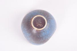 Gunnar Nylund for Rörstrand Sweden 3 Wave Bowl ASH Blue & Brown Haresfur Glaze Scandinavian Mid-century Pottery