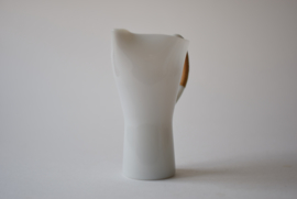 Jacob Eiler Bang for Holmegaard Denmark OPALINE White Glass Pitcher with Bamboo Handle Danish Mid-century