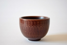 Nils Thorsson for Aluminia Bowl Brown from MARSELIS series no 2644 Danish mid century pottery