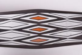Michael Andersen & Søn / Marianne Starck Attributed Oblong Dish / Wall Plate N egro / Tribal Series Black / White / Orange Danish Mid-century Ceramic