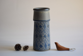 Marianne Starck for Michael Andersen & Søn MA&S Tall Vase Blue & Grey Geometric Decor Danish Mid-century