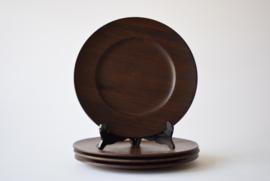 Jens H Quistgaard for Kronjyden 4 Wooden Wengé Plates Danish mid century