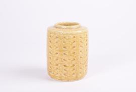SOLD PALSHUS Denmark Cylindrical Vase Yellow Glaze with Blue Accents Design Per Linnemann-Schmidt Danish Mid-century Ceramic