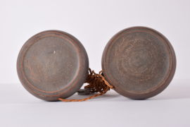 Pair of Kähler / Le Klint Table Lamps Brown Ceramic with Cane Mid-century Ceramic Lighting // PRICE UPON REQUEST