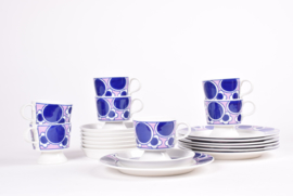 Arabia Finland PAULIINA Coffee / Espresso Trio with Cup / Saucer / Plate Purple & White Kay Franck Scandinavian Mid-century Tableware