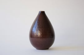 "Nils Thorsson for Aluminia Royal Copenhagen ""Marselis"" Large Brown Tear Drop Vase Danish Mid-century Ceramic"