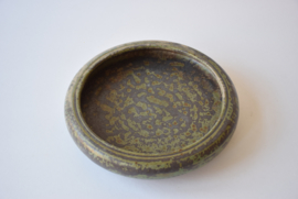 SOLD Early Carl Halier for Royal Copenhagen Circular Footed Bowl with Speckled Glaze Danish Mid-century