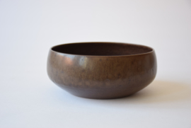 Per Linnemann-Schmidt for PALSHUS Denmark Circular Bowl with Brown Haresfur Glaze Danish Mid-century Ceramic