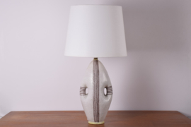 ON HOLD! Incl New Lampshade Guido Gambone Tall Table Lamp Stripes Anthropomorphic Shape Italian Mid-century Ceramic Lighting // PRICE UPON REQUEST