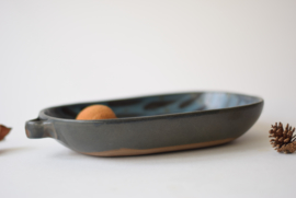 Margrethe Dybdahl Denmark Tray with Handles Midnight Blue Handpainted Decor Danish Mid-century