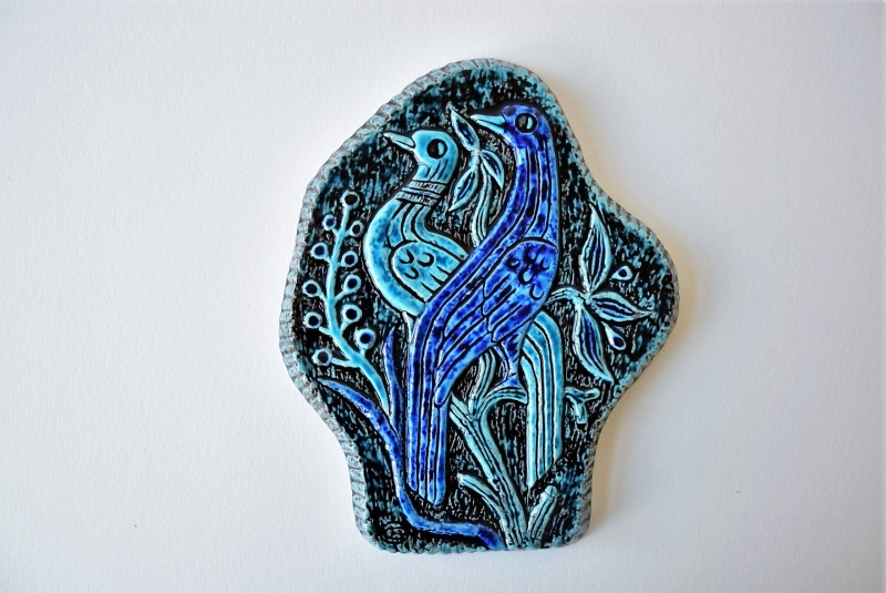 Gunnar Nylund for Rörstrand Wall Plaque Tile Bird Motif Scandinavian pottery midcentury