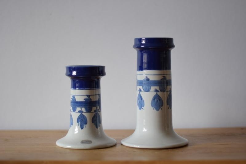 Bjørn Wiinblad own studio Pair of candle holders L77 & L78 handpainted decor blue Danish midcentury