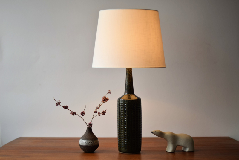 Incl New Lampshade! PALSHUS Denmark Tall Table Lamp Forest Green & Blue PL-S Danish Mid-century