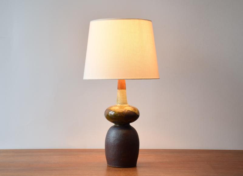Erik Graeser Sculptural Table Lamp Ceramic & Teak Wood Danish Mid-century Ceramic Lighting // PRICE UPON REQUEST