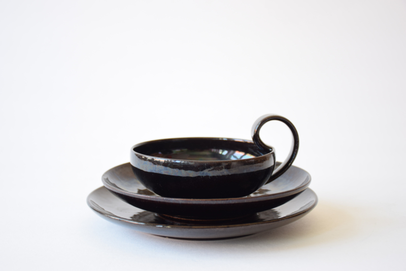 1930s Kähler HAK Denmark Tea Trio with  Cup / Saucer / Plate Black Lustre Nils Kähler Attributed Danish Mid-century Pottery