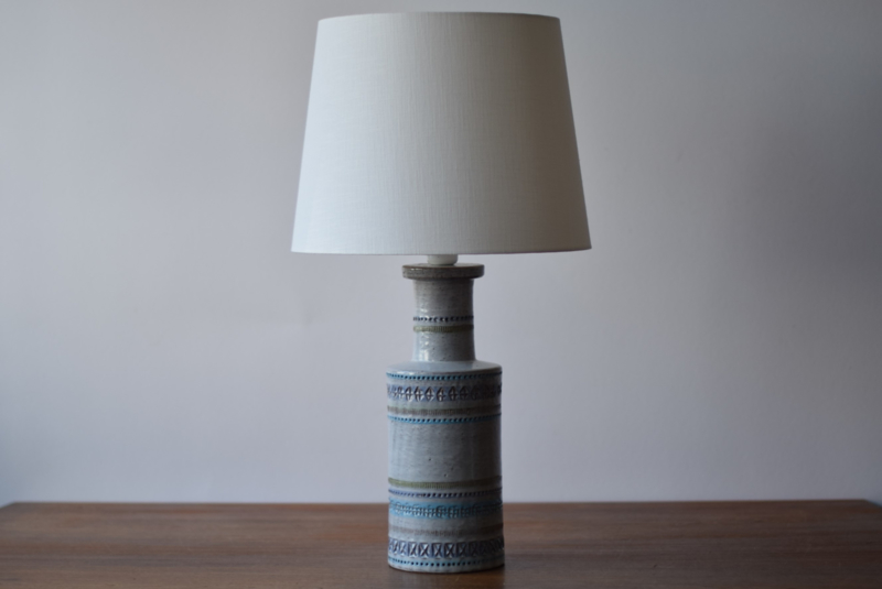Tall! Incl New Lampshade! Bitossi Italy Aldo Londi Attr. Tall Pale Blue Table Lamp Italian Mid-century Ceramic Lighting