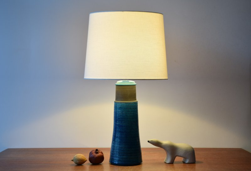 Nils Kähler Very Tall Table Lamp Brown with Turquoise Blue Glaze Danish Mid-century Ceramic Lighting // PRICE UPON REQUEST