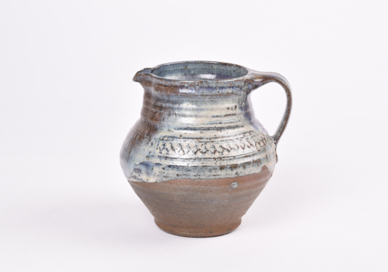 Gutte Eriksen Studio Pottery Small Pitcher with Blue & Brown Glaze and Embossed Decor Danish Mid-century Ceramic