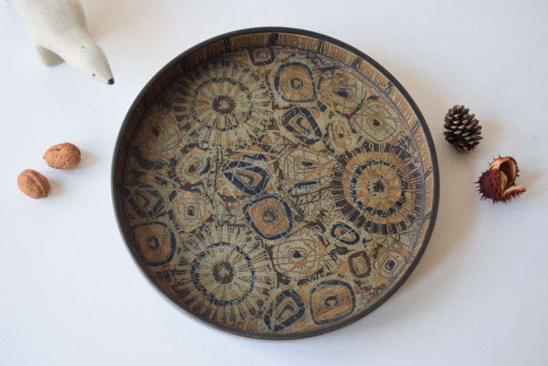 SOLD Nils Thorsson for Royal Copenhagen BACA Large Circular Dish Brown Abstract Floral Decor Danish Mid-century