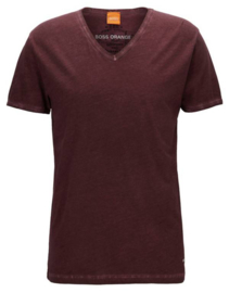 Regular-fit T-shirt van dyed-katoen Donkerrood