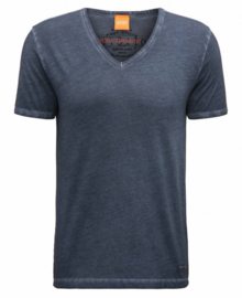 Regular-fit T-shirt van dyed-katoen Blauw