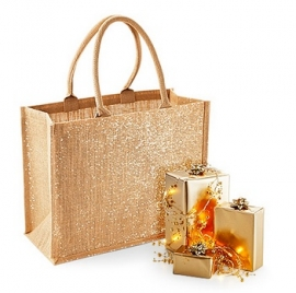 Shimmer Jute Shopper Gold
