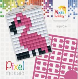 Pixel sleutelhanger - Flamingo