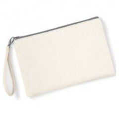 Canvas Wristlet - Natural/Light Grey