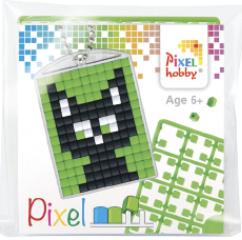 Pixel sleutelhanger - Zwarte Kat