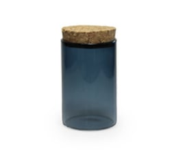 Glazen SILVER BLUE mini potje met deksel kurk