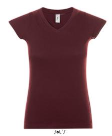 Women T-shirt V-hals - Oxblood
