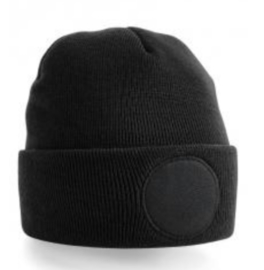 Circular Patch Beanie - BLACK