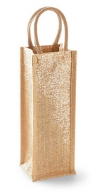 Shimmer Jute Bottle  Bag Gold