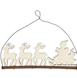 Houten hanger - Rendieren met kerstman