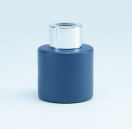 Parfumflesje Cylinder Marineblauw met zilveren schroefdop - 50ml
