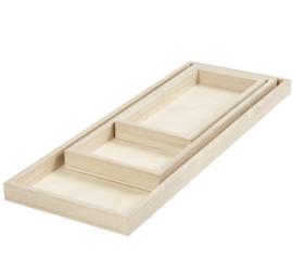 Set houten dienbladen (3st)