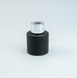 Parfumflesje Cylinder Black met zilver schroefdop - 50ml