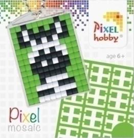 Pixel sleutelhanger - Zebra