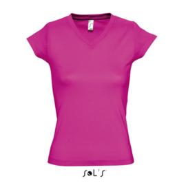 Women T-shirt V-hals - Fuchsia