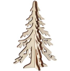 Houten figuur - Besneeuwde kerstboom