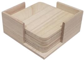 Onderzetters vierkant set van 6 in houder