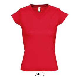 Women T-shirt V-hals - Red