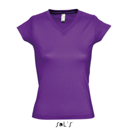 Women T-shirt V-hals - Dark Purple