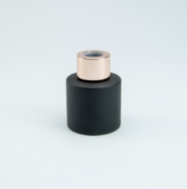 Parfumflesje Cylinder Black met rosegold schroefdop - 50ml