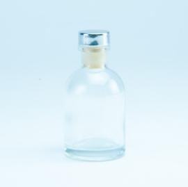 Luxe flesje Transparant - Zilveren Dop 50ml