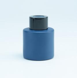 Parfumflesje Cylinder Marineblauw met zwarte schroefdop - 50ml