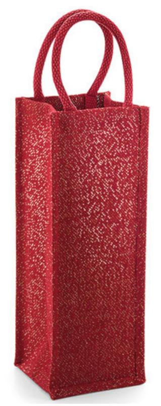 Shimmer Jute Bottle  Bag - RED Gold